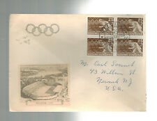 1952 Helsinki Finland Olympics Cover to Usa # B113 Block 4 Stadium