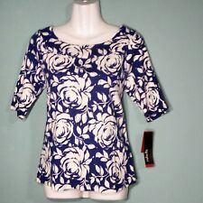Rafaella Women's Knit Top Floral Print  Size L MSRP $53