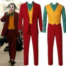 Adult Movie Joker Cosplay Suits Batman Clown Fancy Costume Red Suit Mask UK