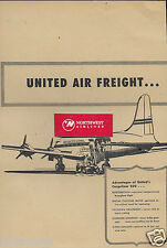 UNITED AIR LINES 1946 AIR FREIGHT CARGOLINER 230'S  2 PG AD & ROUTE MAP