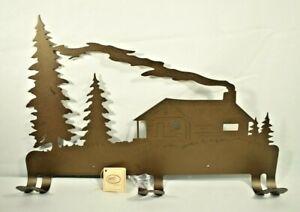 "Lazart - Log Cabin Coat/Hat Rack - 20"" Metal Decorative Wall Mounted Rack - New"