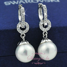 9K 9ct White GOLD GF Pearl EARRINGS Genuine with SWAROVSKI CRYSTAL Bridal EA416