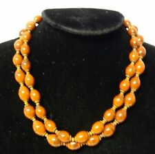 Vintage Signed Miriam Haskell Double Strands Swirl Milk Chocolate Bead Necklace
