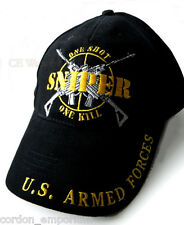 ONE SHOT ONE KILL SHARPSHOOTER SNIPER EMBROIDERED BASEBALL CAP HAT