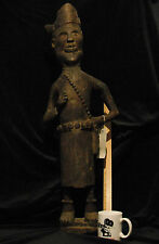 "Antique Ngaju Dayak Carved Hardwood Ancestral Guardian Figure 36"" Tall Borneo"