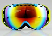 Ski goggles Anti-fog Coloured Double Lens adult snowboard Light blue Frame