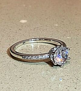 Pandora Clear Sparkling Crown Solitaire Ring, S925 ALE, ALL SIZES