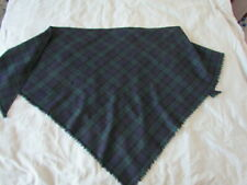 Large Wool Scottish Ethnic Costume Plaid Tartan Vintage Shawl  Scarf Navy Green