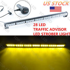 "28 LED 31"" Emergency Warning Traffic Flash Strobe Light Bar 12V Amber Yellow US"