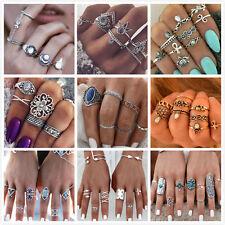 1pc/6pcs Boho Women Elephant Turquoise Knuckle Ring Midi Gothic Finger Rings Set