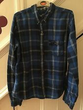 BOY'S SIZE LARGE ABERCROMBIE & FITCH BLUE LARGE CHECK SHIRT RRP £65