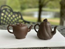 Two Old Estate Chinese Yixing Zishs Pottery Teapot Marked Asian China Brown Pair