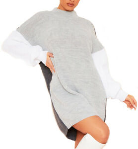 Women Ladies  Colour block Ribbed Grey Autumn Knitted High neck Jumper Dress