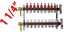 """9 Loop 1 1/4"""" PEX Manifold Radiant Floor Heating Stainless Steel and Connectors"""