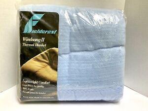 New Vtg Fieldcrest Loom Woven Thermal 100% Acrylic Blanket Satin Trim Full Blue