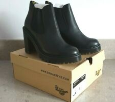 DR MARTENS 'HURSTON' BLACK LEATHER HEELED CHELSEA BOOTS UK 9 EU 43 -  NEW BOXED