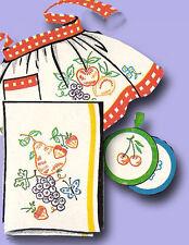 1950s Vintage Vogart Embroidery Transfer 605 Uncut Fruit Tea Towels Kitchen Set