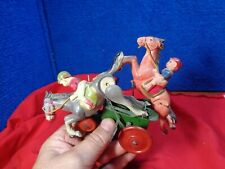 VINTAGE TIN LITHO & CELLULOID TOY WIND-UP HORSE RACE