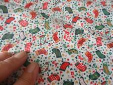 2 yd Vintage fabric-unbranded-Christmas/Holiday:all over Stockings white BG