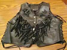 Woman's Fringed Vest w/ Inlayed Suede Flowers by Kerr Leather