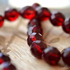 4 Glacé Cherries - Czech Glass, Transparent Dark Garnet, Facet Rounds 12mm