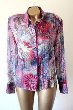 Basler Beautiful Sheer Pink Multi Floral Pattern Shoulder Pad Blouse Size 14