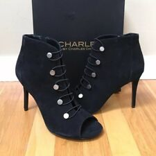 ad37920f416 Charles by Charles David Royality PEEP Toe BOOTIES Black Suede 7 US