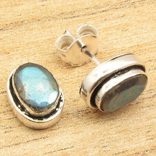925 Silver Plated Blue Fire LABRADORITE Gem TRADITIONAL STUD Earrings 2.1 Grams