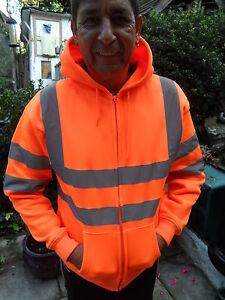 Hi Vis Hooded Orange Zippered Sweat Shirt Sizes S to 3XL