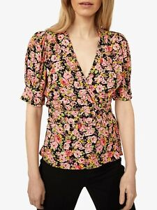 ex Warehouse Pink Floral Rose Faux Wrap Belted Puff Short Sleeve Blouse