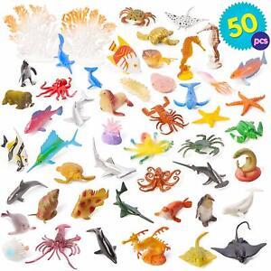 50 x Plastic Ocean Animals Figure Sea Creatures Dolphin Turtle Whale Model Toys
