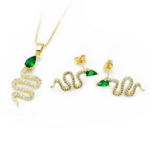 Snake Pendant Necklace Gold/Silver Gold-plated Diamond Necklace Emerald Jewelry