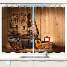 American Western Cowboy Window Curtain Treatments Kitchen Curtains 2 Panels