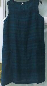 STUNNING SEASALT CHALLAH PINAFORE DRESS LINED LINEN SLEEVELESS DRESS SIZE 12