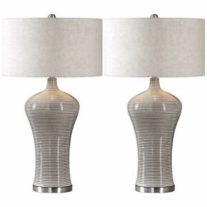 "TWO MODERN DECOR DUBRAVA 34"" RIBBED CERAMIC TABLE BUFFET LAMP LIGHT UTTERMOST"