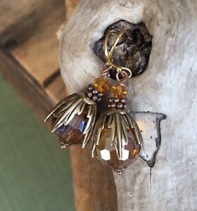 Iridescent Gold Amber Glass Crystal Holiday Woman's Gift Earrings Copper Brass