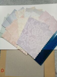 (98) Set Of 16  10x14cm scalloped edges vintage print die cuts Hunkydory  card
