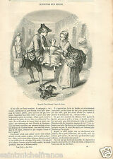 Costumes Dress XVIIIe Siècle Tony Johannot Peintre France GRAVURE OLD PRINT 1855