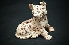 Old Vintage Playful Lion Cub Cat Figurine Hand Made Ceramic Shadow Box Shelf Dcr