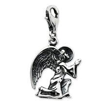 Kneeling Angel Charm Antiqued .925 Sterling Silver Clip On Amore La Vita