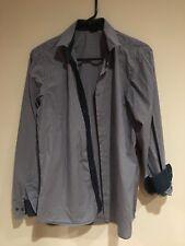 SORBINO Men's Long sleeve striped button down shirt blue grey size medium ITALY