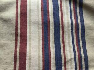 cream maroon blue deck chair stripe upholstery fabric 142cm width x 176cm length