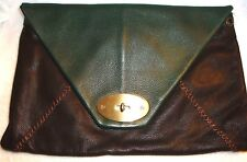 Carla Mancini Olive Green & Brown Soft Leather Envelope Clutch MSRP $450