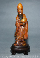 "7.2""Chine Naturelle Shoushan Pierre Sculpté longévité Dieu Shouxing Peach Statue"