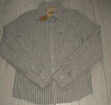 "*NEW* Hollister ""L"" Grey Striped Polo Casual Shirt Top Trikot Top Long Sleeve"