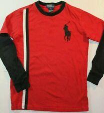 Ralph Lauren Boy's sz 7 Red Long Sleeve Big Pony T-SHIRT F3