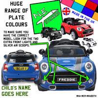 FRONT (+back?) kids number plate for AVIGO 6v MINI Cooper HATCH ride on toy car