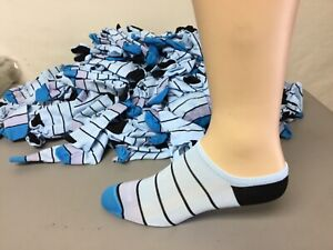 Women's No Nonsense Microfiber No Show Socks Size Small Blue Multi 24 Pair #703R