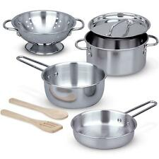 Melissa & Doug Let's Play House Stainless Steel Pots & Pans Set, Pretend Play 3+
