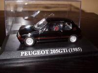VA9F Voiture 1/43 IXO Altaya Espagne : PEUGEOT 205 gti 1985 1.6 noire